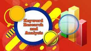 """Image which bears the text: """"Keyword research and analysis""""."""